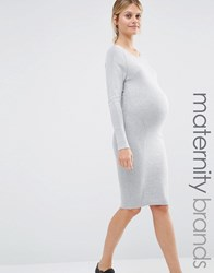 Mama Licious Mamalicious Bodycon Knit Dress Grey