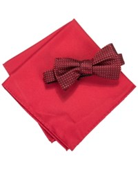 Countess Mara Men's Two Tone Dot Bow Tie And Pocket Square Set Red