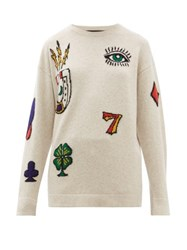 The Elder Statesman Rambler Symbol Jacquard Cashmere Sweater Grey