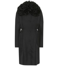 Moncler Gamme Rouge Stuart Wool And Silk Coat Black
