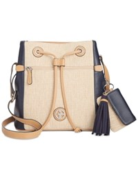 Giani Bernini Contrast Bucket Bag Only At Macy's Navy Natural