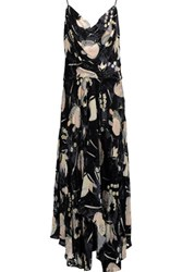 Haute Hippie The Solitaire Ruffled Floral Print Chiffon And Velvet Maxi Dress Black