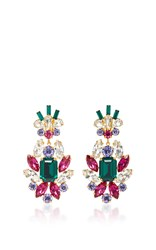 Dolce And Gabbana Crystal Clip Earrings Multi