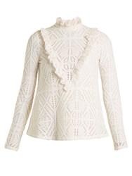 See By Chloe High Neck Crochet Effect Blouse White