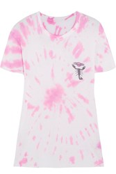 The Elder Statesman Printed Tie Dye Silk And Cashmere Blend T Shirt Pink