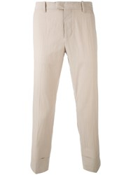 Paolo Pecora Tapered Cropped Trousers Men Cotton Spandex Elastane 48 Nude Neutrals