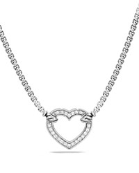 David Yurman Cable Collectibles Heart Station Necklace With Diamonds Silver