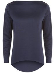 Jaeger Tipped Colour Block Top Ivory Navy
