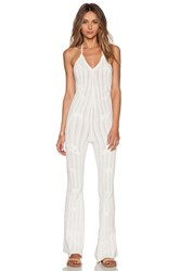 For Love And Lemons Forget Me Not Halter Jumpsuit White