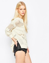 Eleven Paris Crochet Knit Jumper Offwhite