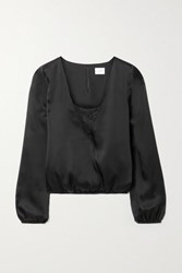 Cami Nyc The Katy Wrap Effect Lace Trimmed Silk Satin Blouse Black