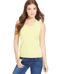 August Silk Sleeveless Silk Blend Scoop Neck Shell Limeade