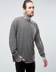 Asos Oversized Long Sleeve T Shirt With Bellow Sleeve In Textured Fabric Charcoal Grey
