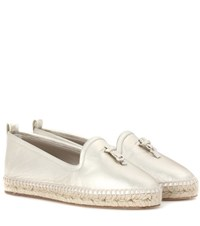 Loro Piana My Charms Leather Espadrilles Gold