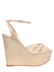 Casadei 140Mm Twisted Band Metallic Suede Wedges