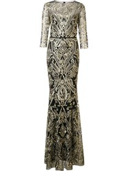 Marchesa Notte Brocade Long Dress Black