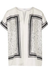 Vince Printed Silk Twill Top White