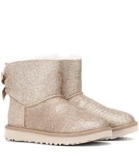 Ugg Mini Bailey Bow Glitter Ankle Boots Gold