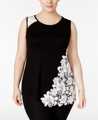 Inc International Concepts Plus Size Lace Embellished Tank Top Only At Macy's Deep Black