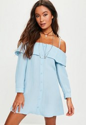 Missguided Petite Exclusive Blue Cold Shoulder Frill Detail Shirt Dress
