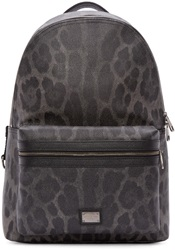 Dolce And Gabbana Grey Leopard Print Backpack
