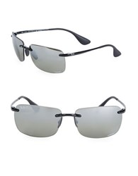 Ray Ban Logo Etched Square Sunglasses Grey