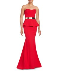 Nicole Bakti Peplum Belted Gown Red
