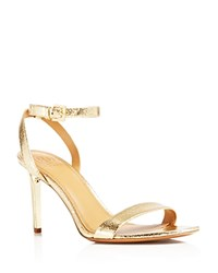 Tory Burch Elana Metallic High Heel Sandals Gold