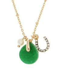 Lonna And Lilly 4Mm Faux Pearl Semi Precious Reconstituted May Birthstone Charm Necklace Green