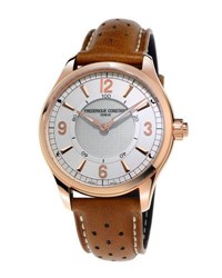 Frederique Constant Horological Smart Watch With Leather Strap White Brown