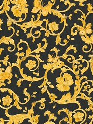 Versace Butterfly Barocco Printed Wallpaper Black Gold