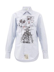 Aries Cartoon Print Pinstripe Cotton Shirt Light Blue