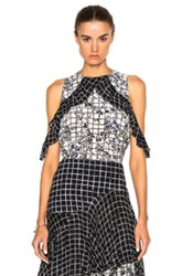 Preen Line Jenna Top In White Black Floral Checkered And Plaid White Black Floral Checkered And Plaid