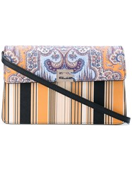 Etro Paisley Striped Print Clutch Women Leather One Size