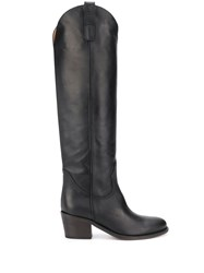 Via Roma 15 Texan Knee High Boots Black