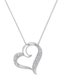 Macy's Diamond Floating Heart Pendant Necklace 1 6 Ct. T.W. In Sterling Silver