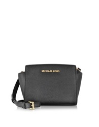 Michael Kors Black Saffiano Leather Selma Mini Messenger Bag