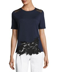 Elie Tahari Viviana Short Sleeve Lace Inset Knit Top Blue Black Blue Black