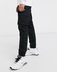 Only And Sons Slim Fit Cargo With Cuffed Bottom In Black