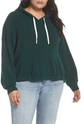 Plus Size Bp. Cinched Hem Boucle Hoodie Green Botanical