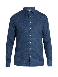 Etro Pin Dot And Checked Linen And Cotton Blend Shirt Navy Multi