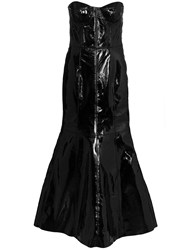 Natasha Zinko Strapless Fitted Leather Gown Black