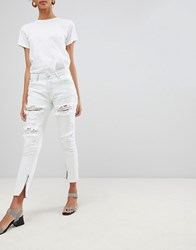 Glamorous Ripped Skinny Jeans With Zip Detail Blue