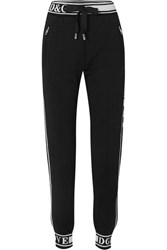 Dolce And Gabbana Jacquard Trimmed Cotton Jersey Track Pants Black