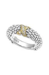 Lagos Women's 'X' Diamond And Caviar Tm ' Two Tone Ring