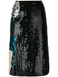 Olympia Le Tan Walk Alone Embroidered Skirt Cotton Glass Sequin Black