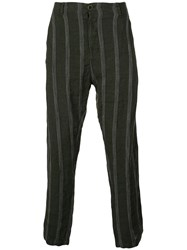Transit Striped Relaxed Trousers Green