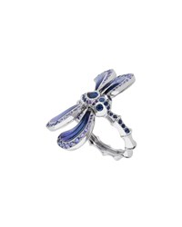 White Gold Dragonfly Ring With Sapphire And Amethyst Lalique Blue