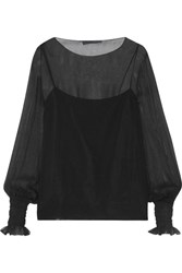 The Row Laver Crinkled Silk Chiffon Blouse Black