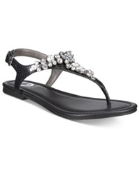 G By Guess Londean Embellished Flat Sandals Women's Shoes Black